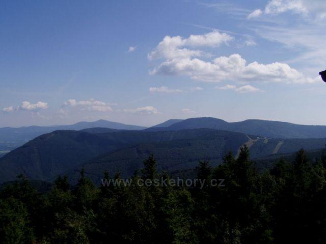 Pohled na tři nejvyší vrcholy Beskyd-Kněhyně,Smrk,Lysá Hora