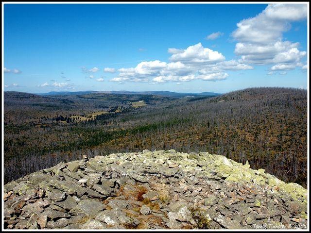 Šumava - vrchol Luzný (1373 m.n.m.) - pohled směr Březník, v dáli rozhledna Poledník