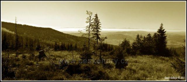 Šumava - panorama Alp vyfotografovaných z Hraničníku