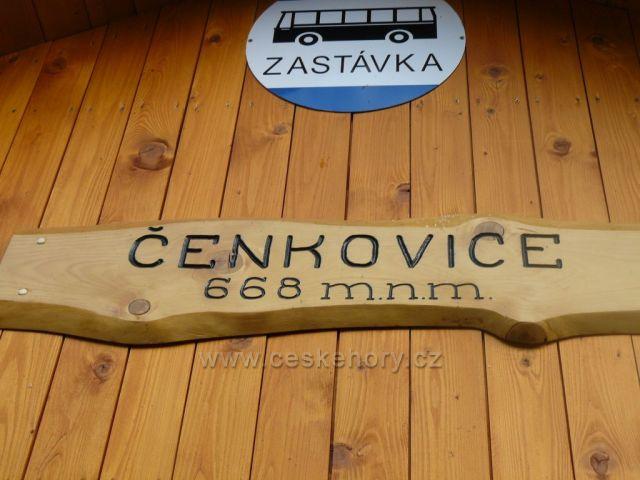 Nadmořská výška v Čenkovicích na autobusové zastávce.