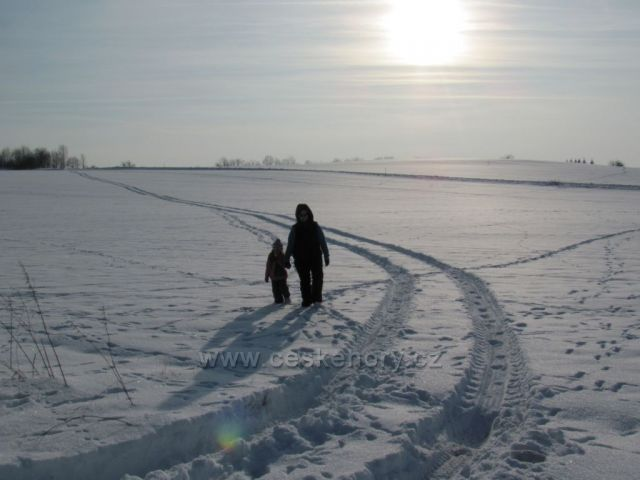 Zelenkův kopec u obce Ústup,Zimní procházka.