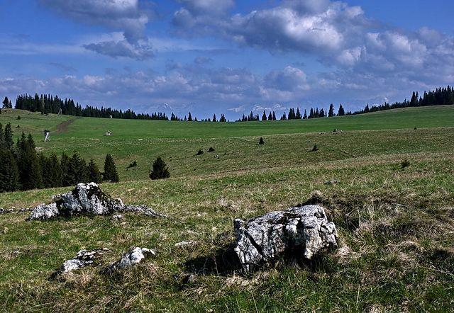 Na Smrečinách. Pohled na Vysoké Tatry