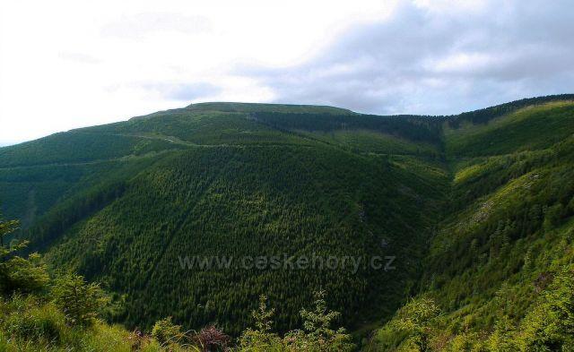 Výhled od Medvědí hory na Dlouhé stráně