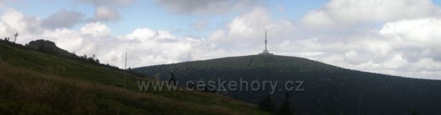 panorama - Petrovy kameny, chata Barborka a Praděd