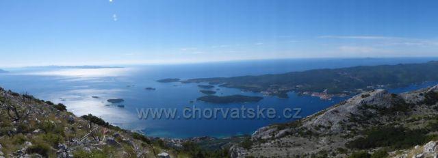Výhled z nejvyšší hory poloostrova Pelješac sv.Iliji