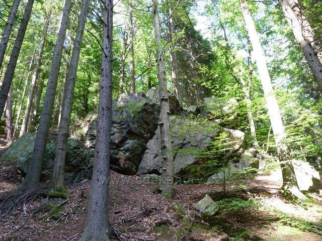 Račí údolí - skalnatý svah pod hradem Rychleby