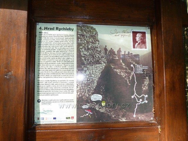 Račí údolí - tabule NS v areálu zříceniny hradu Rychleby