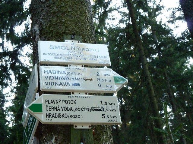 Venušiny misky - turistický rozcestník Pod Smolným