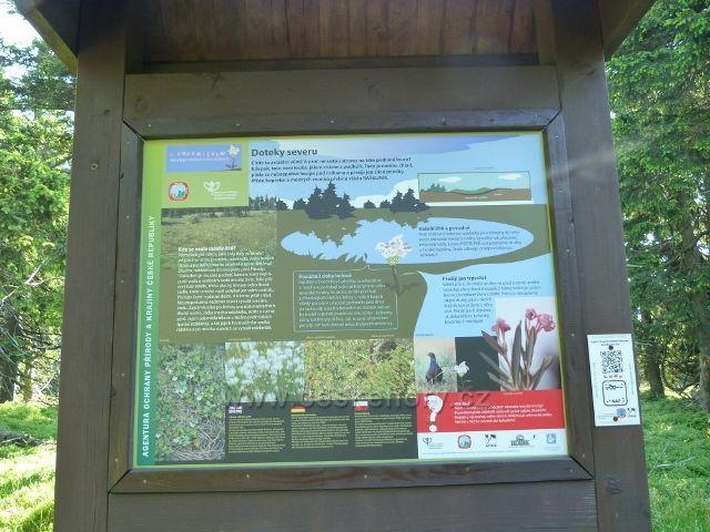 Informační tabule u zpřístupněného rašeliniště u cesty k Trojmezí