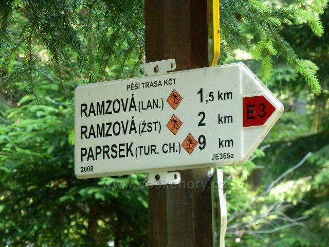 Směrová tabulka,označující poslední úsek cesty z Červenohorského do Ramzovského sedla