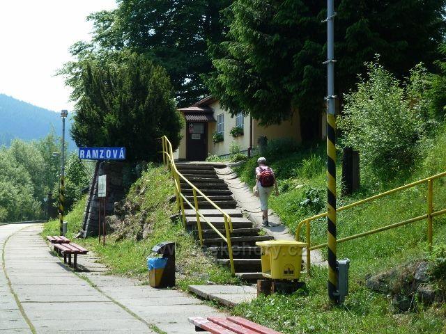 Nádraží ČD v Ramzové - nejvýše položená rychlíková zastávka v ČR