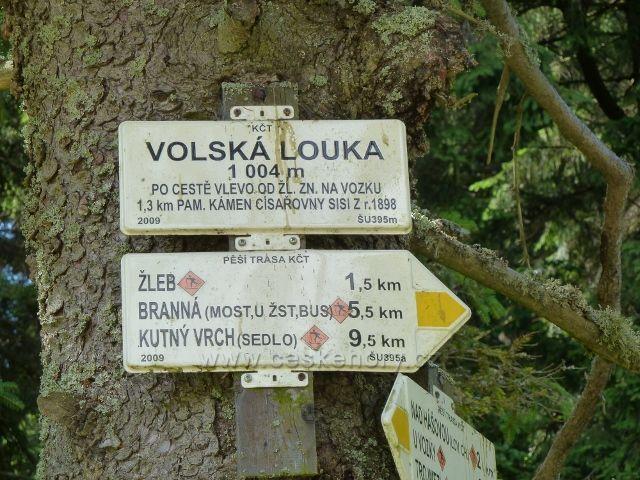 """Turistický rozcestník """"Volská louka"""""""