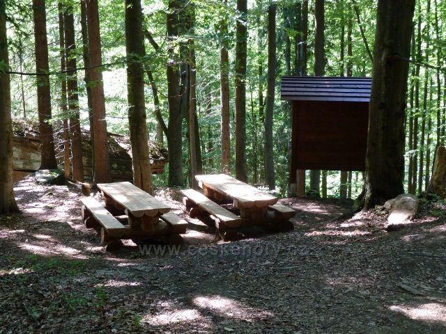 Turistické odpočívadlo u trasy bývalé lesní železnice do Aloisova