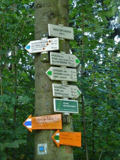 """Turistický rozcestník """"Nad Splavem"""" zelené a modré TZ"""