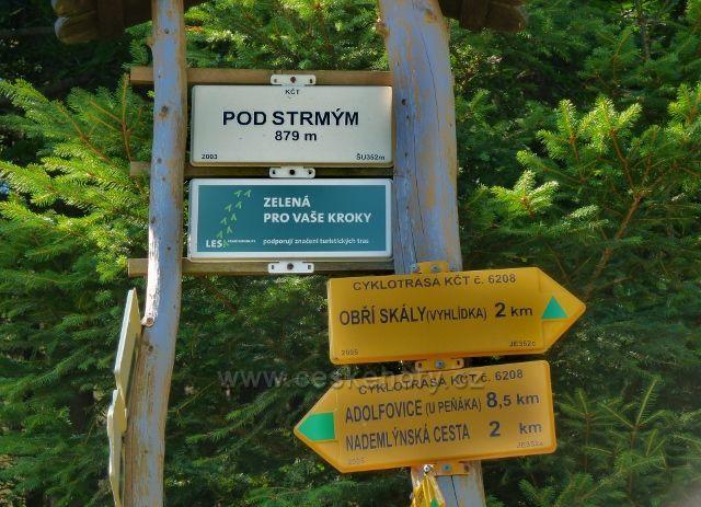 "Turistický rozcestník  ""Pod Strmým"""