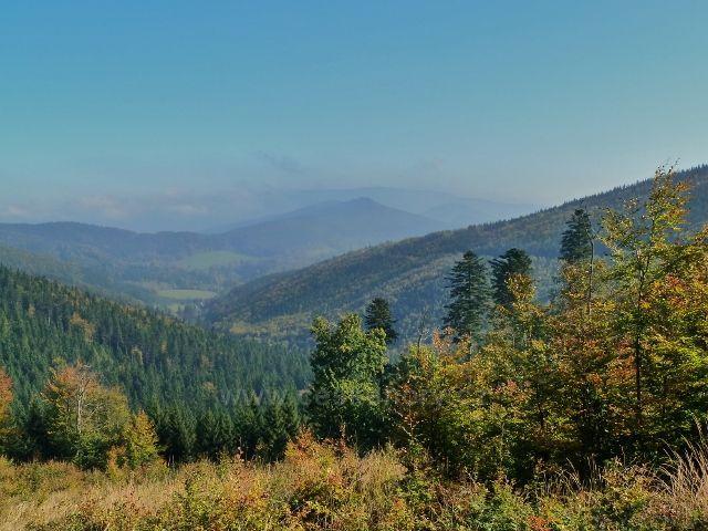 Horní Lipová - pohled z vrstevnicové cesty nad Lesní bar do údolí říčky Staříč