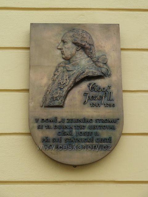 Nový Jičín - pamětní deska na císaře Josefa II. na Masarykově náměstí