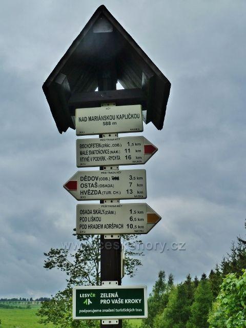 Teplické skály - turistický rozcestník Nad Mariánskou kapličkou
