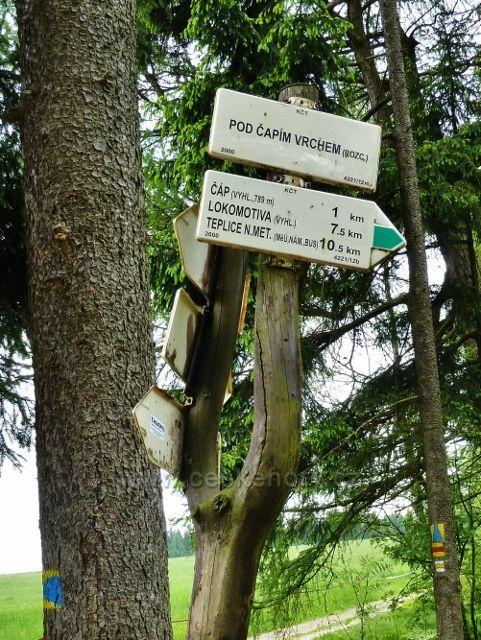 Teplické skály - turistický rozcestník Pod Čapím vrchem