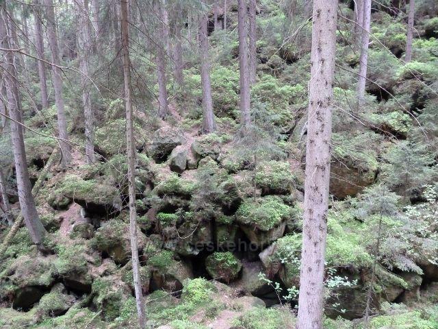 Teplické skály - kamenitý útvar Permoník na dně Anenského údolí