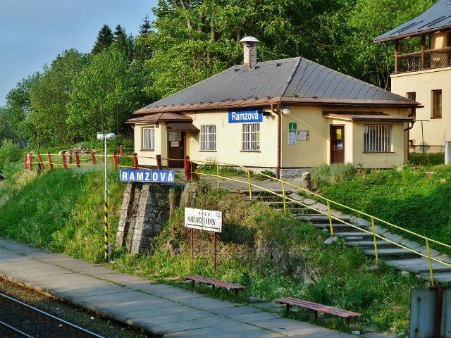 Ramzová - objekt nádraží ČD je v současnosti využíván jako informační centrum