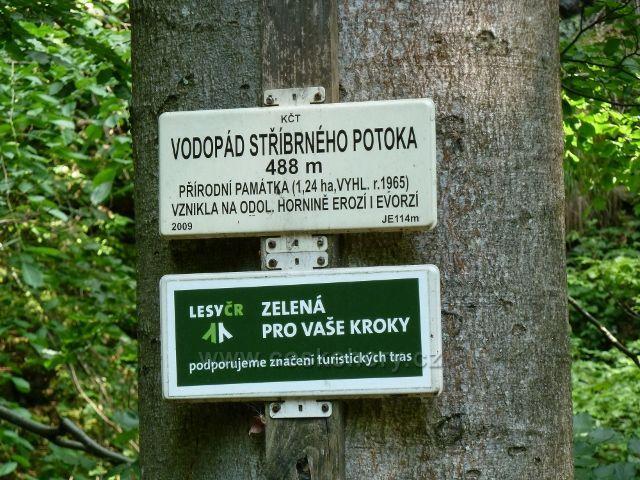 Vodopád Stříbrného potoka - informační tabulka