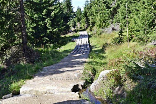 Nově upravený chodník na MORAVSKOU BOUDU s dřevořezbami okolo cesty