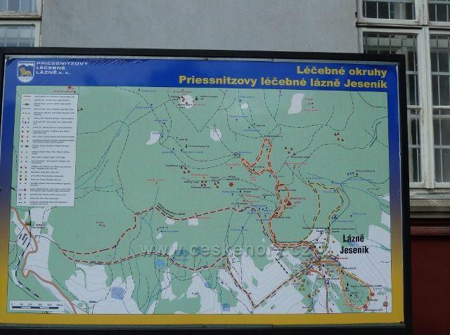 Lázně Jeseník - mapa tras léčebných okruhů