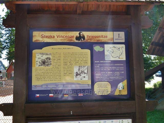 Lázně Jeseník - tabule I.zastavení Stezky V.Priessnitze
