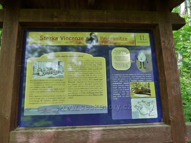 Lázně Jeseník - tabule II.zastavení Stezky V.Priessnitze u Pražského pramenu