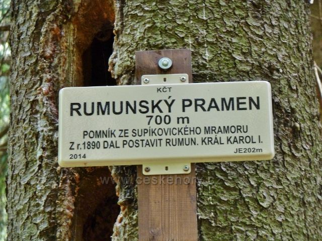 Lázně Jeseník - turistická tabulka u Rumunského pramenu