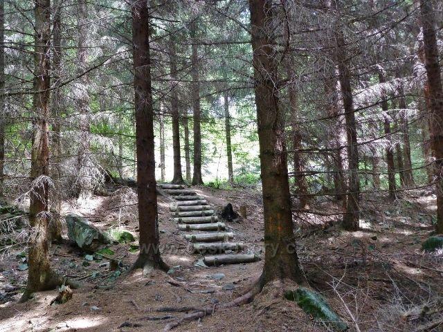 Lázně Jeseník - stezka z Hydropatických skal k Enhuberově hrobce
