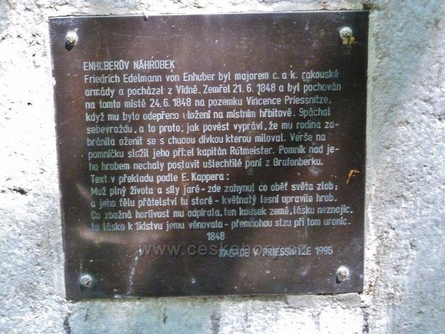Lázně Jeseník - pamětní destička na náhrobku Enhuberova hrobu