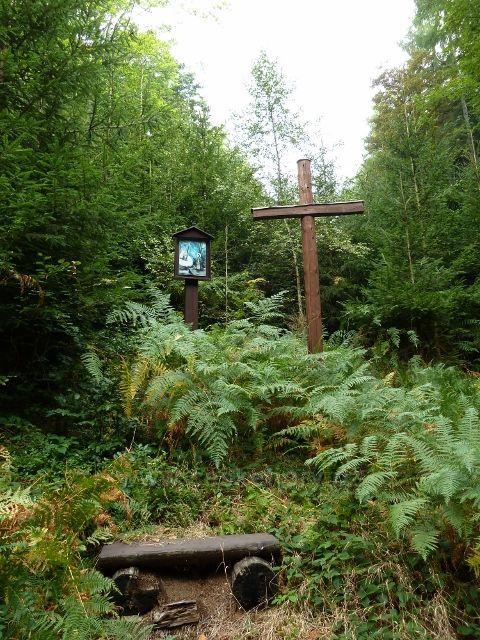 Hradiska - kříž a svatý obrázek u cesty po červené TZ do Orliček