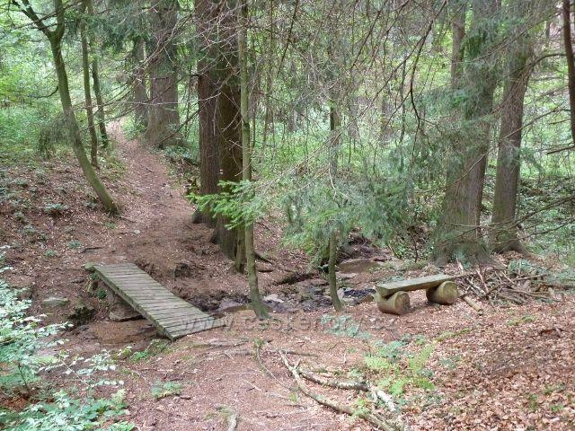 Hradiska - trasa po červené TZ do Orliček vede přes mostek v areálu přírodní motlitebny Českých bratří