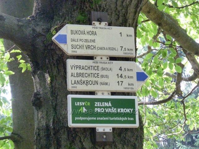 """Buková hora - turistický rozcestník """"Nad Výprachticemi"""""""