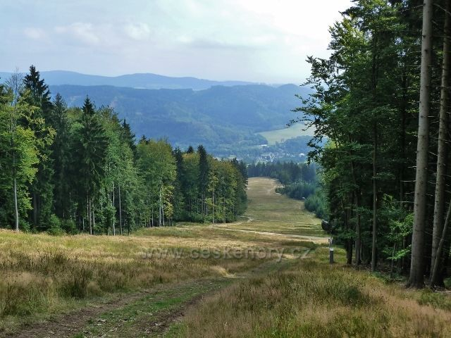 Buková hora - pohled ze sjezdovky k Mlýnickému Dvoru
