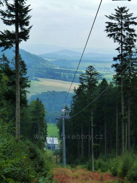 Buková hora - lanovka z Mlýnického Dvora na vrchol Bukové hory - pohled k dolní stanicu