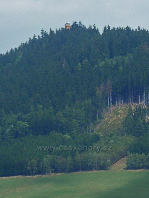 Mlýnický Dvůr - pohled na rozhlednu na Křížovém vrchu