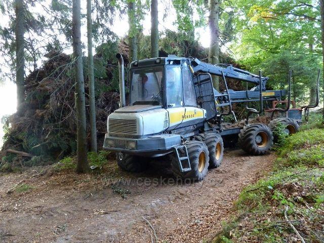 Bořitov - likvidace červencové větrné kalamity v lese podél silničky z Nekoře do Bořitova