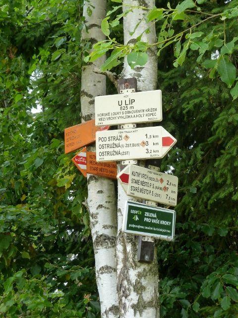 "Ostružná - turistický rozcestník na trase po červené TZ ""U Líp"" - 825 m.n.m."