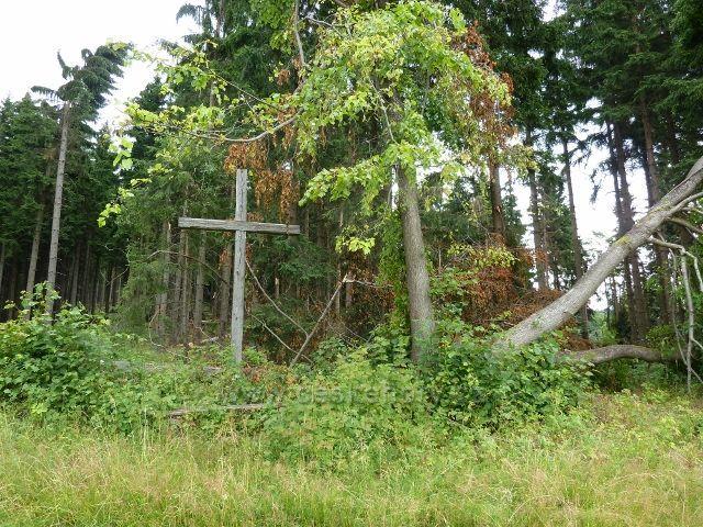 Ostružná - větrný polom v lesním porostu U Líp 8.července 2015 se vyhnul starému dřevěnému kříži