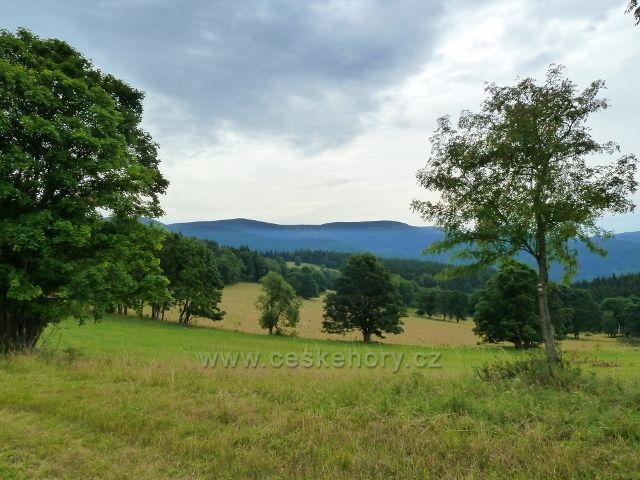 Ostružná - pastviny kolem bývalé Bídy