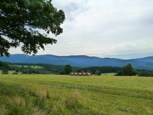 Ostružná - pohled z úbočí Holého vrchu na pásmo Šerák-Keprník