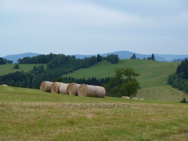 Kronfelzov - sklizeň otavy na pastvinách Holého vrchu nad osadou Kronfelzov