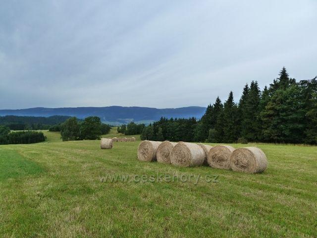 Kronfelzov - sklizeň otavy na úbočí Holého vrchu nad osadou Kronfelzov