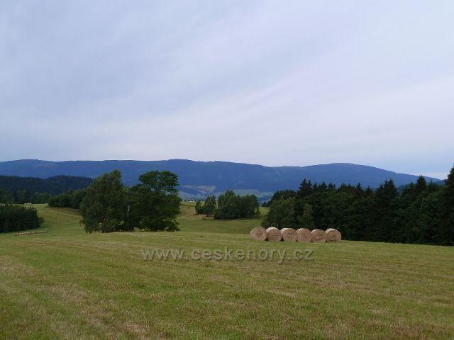 Kronfelzov - pohled z pastvin nad osadou na pásmo Kralického Sněžníku