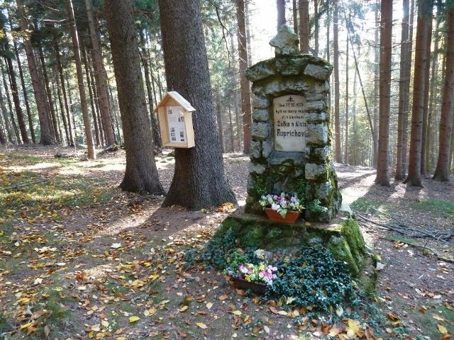 Písařov - pomník obětí blesku Ruprichových v lese nad obcí