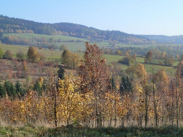 Písařov - pohled na úbočí partyzánského vrchu Čečel