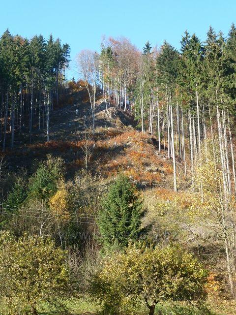 Jindřichov na Moravě - úbočí pod zříceninou hradu Pleče